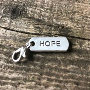 "Jewelry - ❤️4 for $25❤️ Silver Toned ""Hope"" Charm NWOT"